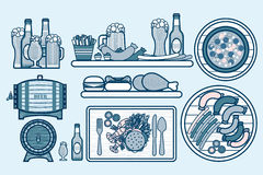 Vastgesteld bieren, kroezen, flessen en voedsel met tipple, voorgerecht, fastfood in lijnstijl Royalty-vrije Stock Afbeelding