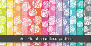 Vastgesteld bloemen naadloos patroon Royalty-vrije Stock Afbeeldingen