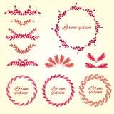 Vastgesteld bloemornament De elementen van het ontwerp Vector Stock Illustratie