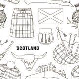 Vastgesteld de pictogrammenpatroon van het land van Schotland Royalty-vrije Stock Afbeelding