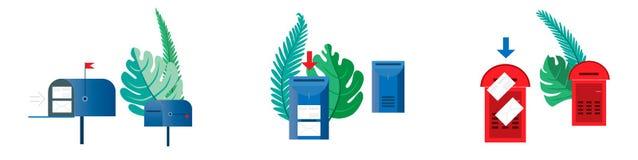 Vastgesteld e-mailconcept Zes brievenbussen, leeg en met enveloppensurro royalty-vrije illustratie