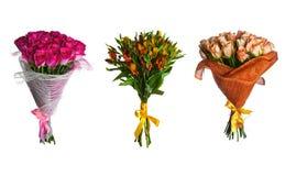 Vastgesteld geïsoleerd, bloemenboeket Stock Foto's