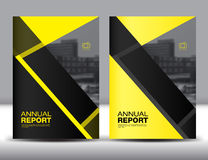 Vastgesteld Geel Dekkingsmalplaatje, jaarverslag, brochurevlieger Stock Foto