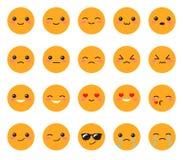 Vastgesteld geel emotiesgezicht Vastgestelde Japanse glimlachen Rond, geel Kawaii-gezicht op een witte achtergrond Het leuke vark Royalty-vrije Stock Foto's