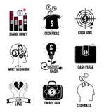 Vastgesteld geldembleem, emblemen en pictogrammen Royalty-vrije Stock Fotografie