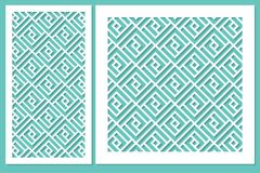 Vastgesteld geometrisch ornamentmalplaatje Kaart voor Laserknipsel Stock Afbeelding