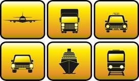 Vastgesteld glanzend vervoerpictogram Stock Afbeelding