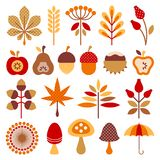 Vastgesteld Grafisch Autumn Icons Brown Orange Red vector illustratie