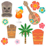 Vastgesteld Hawaï simbols en toebehoren Royalty-vrije Stock Foto's