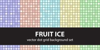 Vastgesteld het Fruitijs van het stippatroon Vector naadloze geometrisch Stock Afbeeldingen