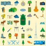 Vastgesteld het kamperen pictogram, die in openlucht wandelen Royalty-vrije Stock Afbeelding
