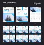 Vastgesteld het malplaatjeontwerp van de Bureaukalender 2018, blauwe dekking Stock Foto