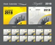 Vastgesteld het malplaatjeontwerp van de Bureaukalender 2018, Gele dekking Royalty-vrije Stock Foto