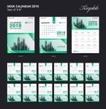 Vastgesteld het malplaatjeontwerp van de Bureaukalender 2018, Groene dekking, Reeks van 12 Maanden royalty-vrije illustratie
