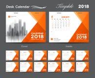 Vastgesteld het malplaatjeontwerp van de Bureaukalender 2018, Oranje dekking, Reeks van 12 royalty-vrije stock foto