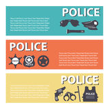 Vastgesteld het personeelsmateriaal van de politiebescherming op vlakke stijl Stock Afbeelding