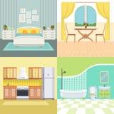 Vastgesteld illustraties modern binnenland van het leven huis stock illustratie