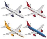 Vastgesteld isometrisch kleurenvliegtuig op een witte achtergrond Royalty-vrije Stock Foto
