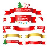 Vastgesteld Kerstmislint op een witte achtergrond Royalty-vrije Stock Fotografie