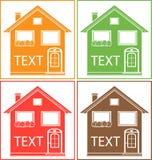 Vastgesteld kleurrijk huis met plaats voor tekst Stock Fotografie