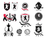 Vastgesteld merk, sportclub, studentenclub, heraldisch schild, koninklijk, hotel, veiligheid, volledige vectorembleeminzameling e Royalty-vrije Stock Afbeelding