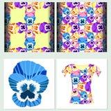 Vastgesteld naadloos patroon voor t-shirt pansies Vector illustratie royalty-vrije illustratie