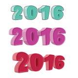 Vastgesteld nummer 2016 Cijfers voor het nieuwe jaar Dolkomisch beeldverhaal-varkenskot Stock Foto's