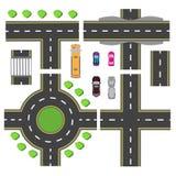 Vastgesteld ontwerp voor een vervoerknoop De kruisingen van diverse wegen Rotondeomloop vervoer Illustratie stock illustratie