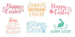 Vastgesteld pastelkleurembleem voor Pasen Kentekens voor de de lentevakantie van Pasen Het ontwerp van etiket met een decor van b Royalty-vrije Stock Afbeeldingen