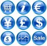 Vastgesteld pictogram blauwe #04. Stock Afbeelding