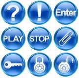 Vastgesteld pictogram blauwe #05. Stock Foto's