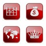 Vastgesteld pictogram rode glanzende #16. Royalty-vrije Stock Afbeelding