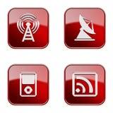 Vastgesteld pictogram rode glanzende #28. stock illustratie