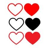 Vastgesteld pictogramhart Ontwerpelementen voor de dag van Valentine ` s royalty-vrije illustratie