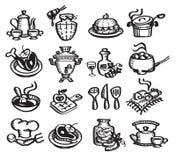 Vastgesteld pictogrammenvoedsel. Vectorillustratie Royalty-vrije Stock Afbeeldingen