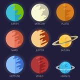 Vastgesteld planetenzonnestelsel in een vlakke beeldverhaalstijl Stock Foto