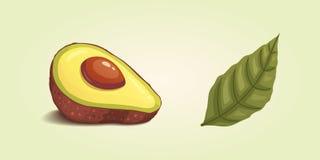 Vastgesteld realistisch vers avocadofruit Plak en gehele avocado's De vectorillustratie van het veganistvoedsel in beeldverhaalst royalty-vrije stock afbeeldingen
