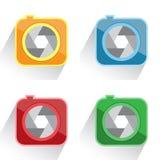 Vastgesteld rood camerapictogram, geel, groen, blauw Stock Fotografie