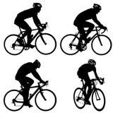 Vastgesteld silhouet van een fietsermannetje op witte achtergrond royalty-vrije illustratie