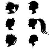 Vastgesteld silhouet van een mooie vrouwenprofielen Stock Foto