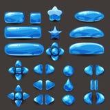 Vastgesteld spel ui Volledig blauw menu van grafisch gebruikersinterface GUI om 2D spelen te bouwen Toevallig spel Vector Stock Fotografie