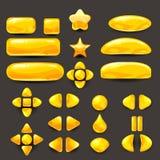 Vastgesteld spel ui Volledig geel menu van grafisch gebruikersinterface GUI om 2D spelen te bouwen Toevallig spel Vector Stock Fotografie