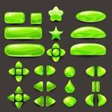 Vastgesteld spel ui Volledig groen menu van grafisch gebruikersinterface GUI om 2D spelen te bouwen Toevallig spel Vector Royalty-vrije Stock Fotografie