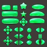 Vastgesteld spel ui Volledig groen menu van grafisch gebruikersinterface GUI om 2D spelen te bouwen Toevallig spel Vector Stock Afbeeldingen
