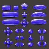 Vastgesteld spel ui Volledig marineblauw menu van grafisch gebruikersinterface GUI om 2D spelen te bouwen Toevallig spel Vector Stock Afbeelding