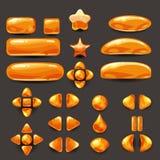Vastgesteld spel ui Volledig oranje menu van grafisch gebruikersinterface GUI om 2D spelen te bouwen Toevallig spel Vector Stock Afbeelding