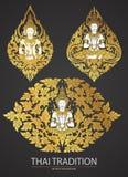 Vastgesteld Thais kunstelement Traditioneel van de bloemen van Boedha Royalty-vrije Stock Foto