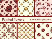 Vastgesteld uitstekend bloemen naadloos vectorpatroon Royalty-vrije Stock Afbeelding