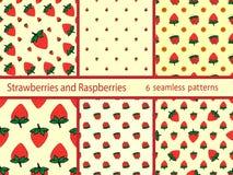Vastgesteld van bessenaardbeien en frambozen naadloos patroon Stock Fotografie