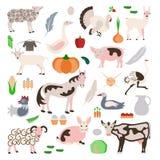 Vastgesteld van landbouwbedrijfdieren en groenten pictogram Stock Foto